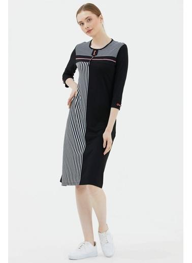 Sementa Truvar Kol Sıfır Yaka Marine Elbise - Siyah Siyah